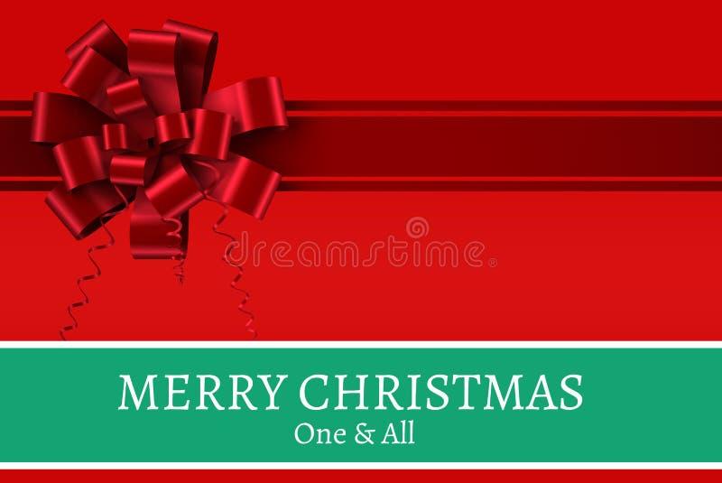 Μήνυμα Χριστουγέννων στο κόκκινο σχέδιο υποβάθρου κορδελλών διανυσματική απεικόνιση
