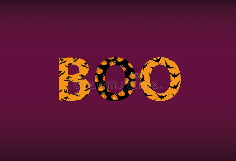 Μήνυμα Boo αποκριών! Διάνυσμα Λέξεις για τις προσκλήσεις σε ένα κόμμα απεικόνιση αποθεμάτων