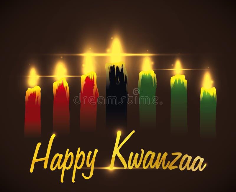 Μήνυμα Kwanzaa χαιρετισμού με τα παραδοσιακά κεριά, διανυσματική απεικόνιση απεικόνιση αποθεμάτων