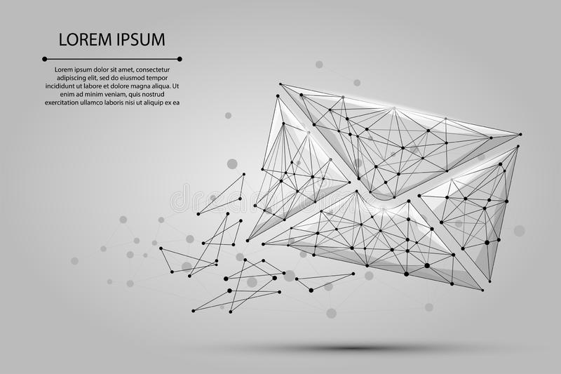 μήνυμα Polygonal φάκελος πλέγματος wireframe Χαμηλό πολυ ταχυδρομείο, επιστολή, ηλεκτρονικό ταχυδρομείο ή άλλη απεικόνιση έννοιας ελεύθερη απεικόνιση δικαιώματος