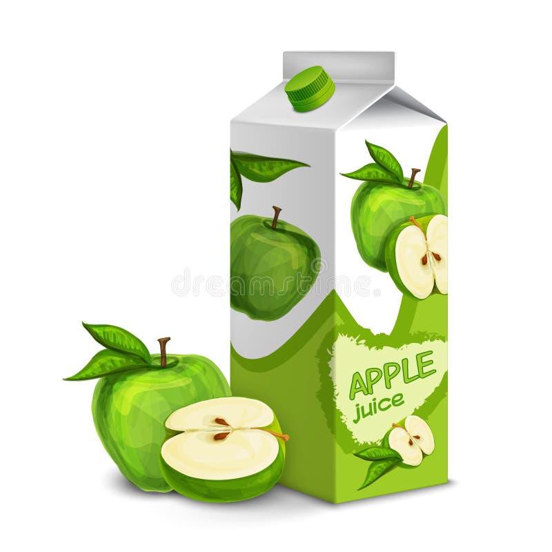 Μήλο πακέτων χυμού διανυσματική απεικόνιση
