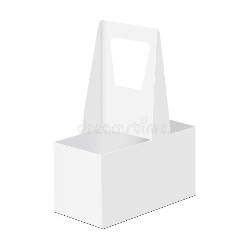 Μίας χρήσης κάτοχος χαρτονιού για 2 φλυτζάνια διανυσματική απεικόνιση