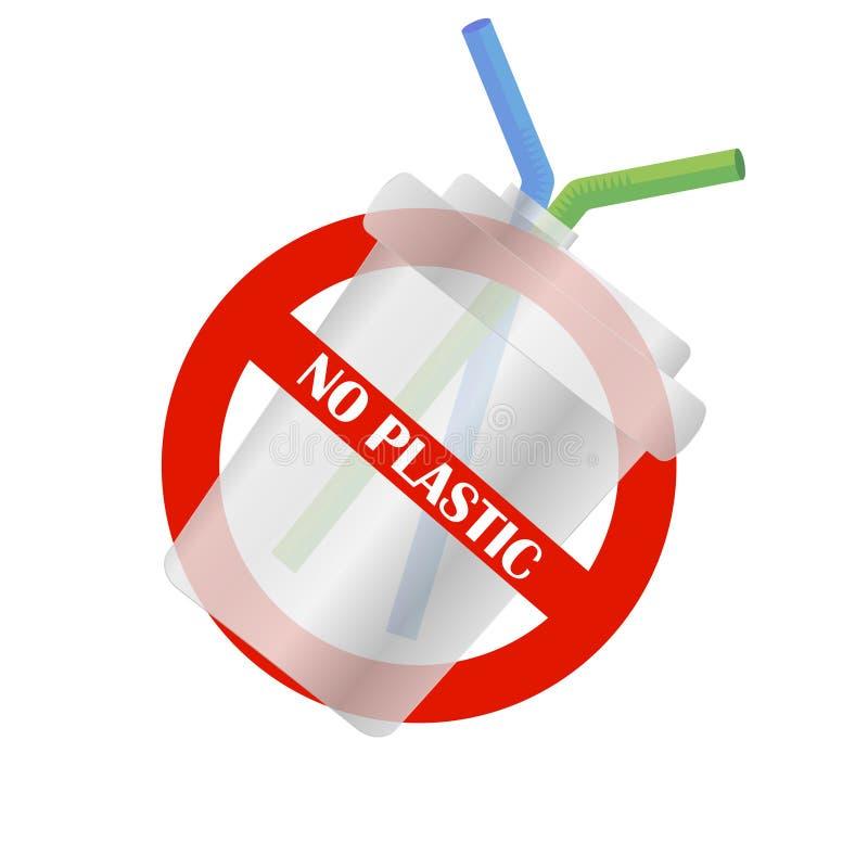 Μίας χρήσης πλαστικό φλυτζάνι κανένα πλαστικό Πρόβλημα ρύπανσης επάνω από ποδηλάτων καναλιών eco ενεργειακών το φιλικό προς το πε διανυσματική απεικόνιση