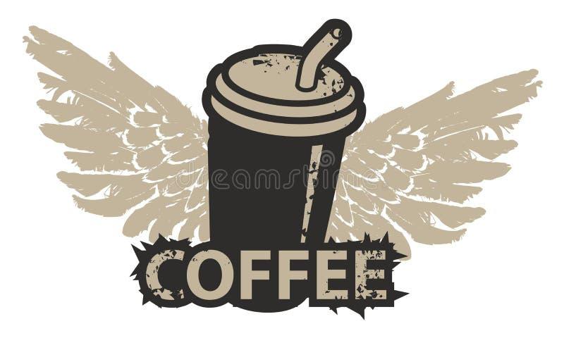 Μίας χρήσης φλυτζάνι καφέ με τα φτερά και το άχυρο απεικόνιση αποθεμάτων