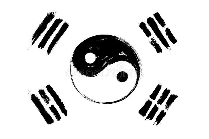 Μίγμα σημαιών της Νότιας Κορέας με το yin και yang το σύμβολο Το σχέδιο και το χέρι ζωγραφικής watercolor Grunge σύρουν το ύφος ε διανυσματική απεικόνιση