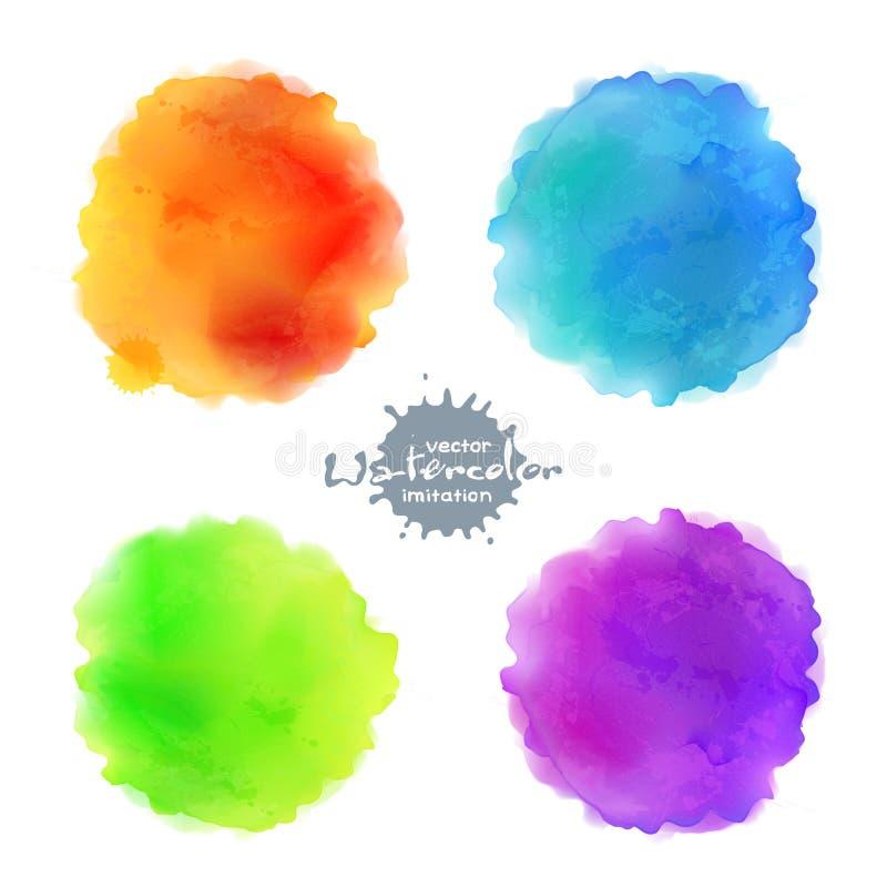 Μίμησης διανυσματικοί λεκέδες χρωμάτων Watercolor καθορισμένοι διανυσματική απεικόνιση