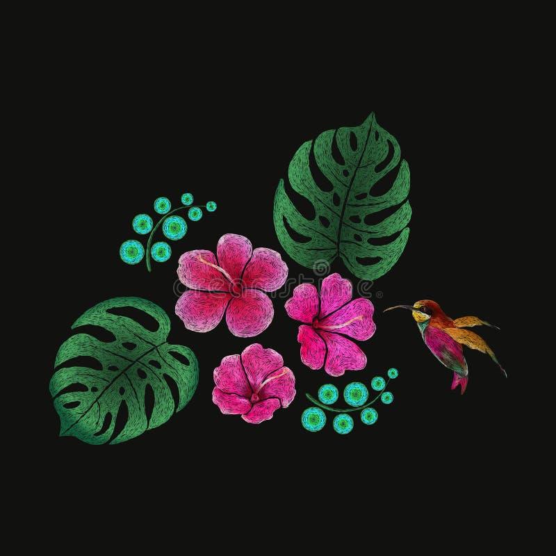 Μίμησης τροπικό floral σχέδιο σχεδίων κεντητικής Διανυσματική διακόσμηση μόδας βελονιών σατέν απεικόνισης απεικόνιση αποθεμάτων