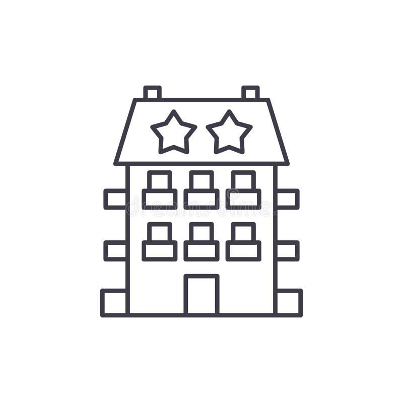 Μίνι έννοια εικονιδίων γραμμών ξενοδοχείων Μίνι διανυσματική γραμμική απεικόνιση ξενοδοχείων, σύμβολο, σημάδι ελεύθερη απεικόνιση δικαιώματος