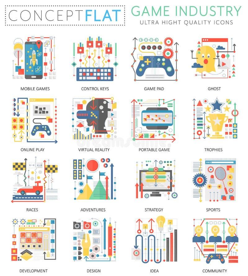 Μίνι εικονίδια βιομηχανίας παιχνιδιών έννοιας Infographics για τον Ιστό Εννοιολογικά επίπεδα εικονίδια γραφικής παράστασης Ιστού  απεικόνιση αποθεμάτων