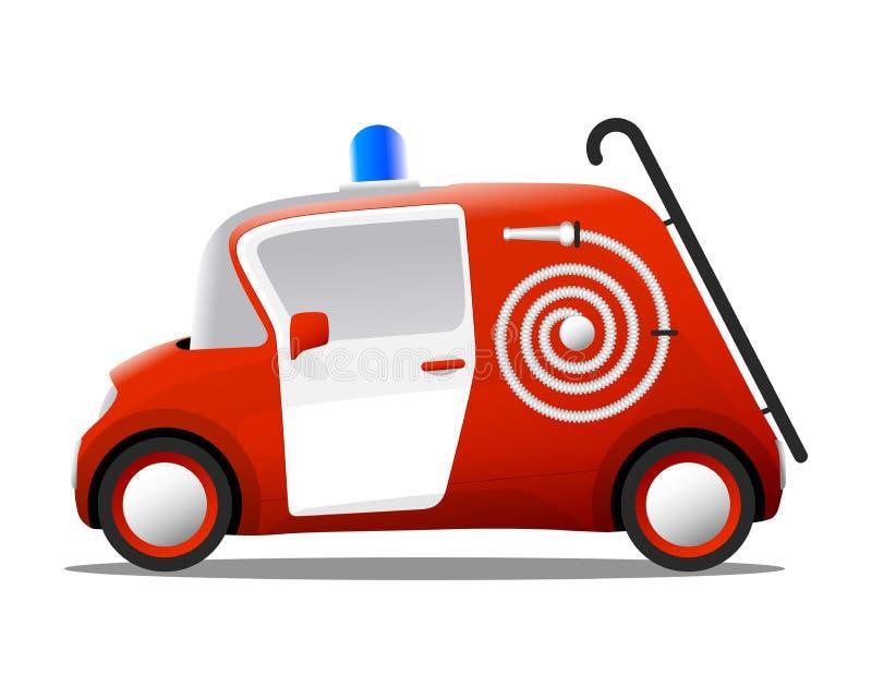 Μίνι πυροσβέστης πυροσβεστικών οχημάτων κινούμενων σχεδίων κόκκινος απεικόνιση αποθεμάτων