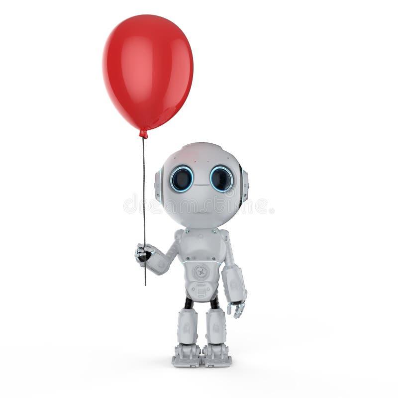Μίνι ρομπότ με το μπαλόνι διανυσματική απεικόνιση