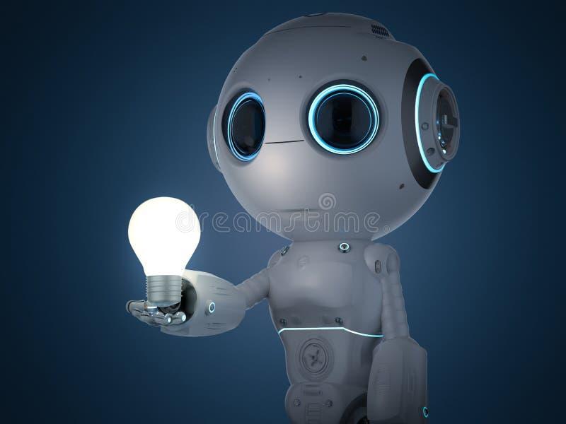 Μίνι ρομπότ με το lightbulb ελεύθερη απεικόνιση δικαιώματος