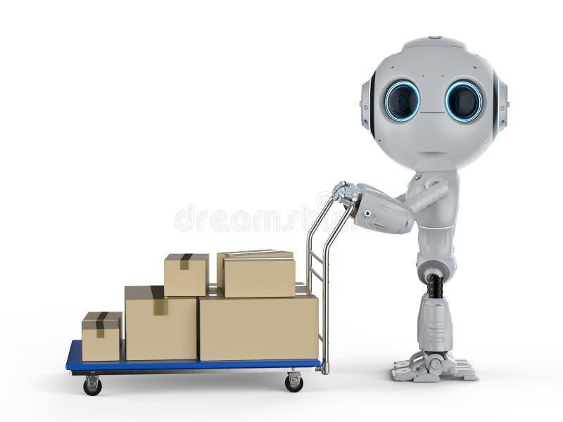 Μίνι ρομπότ παράδοσης με το καροτσάκι διανυσματική απεικόνιση