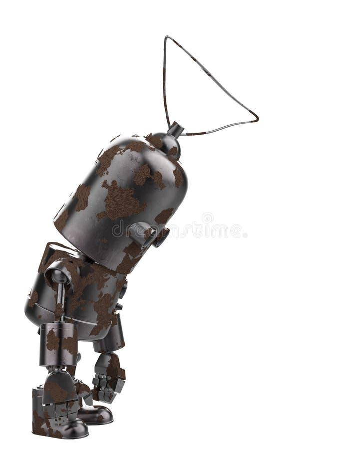 Μίνι ρομπότ σιδήρου σε ένα άσπρο υπόβαθρο διανυσματική απεικόνιση