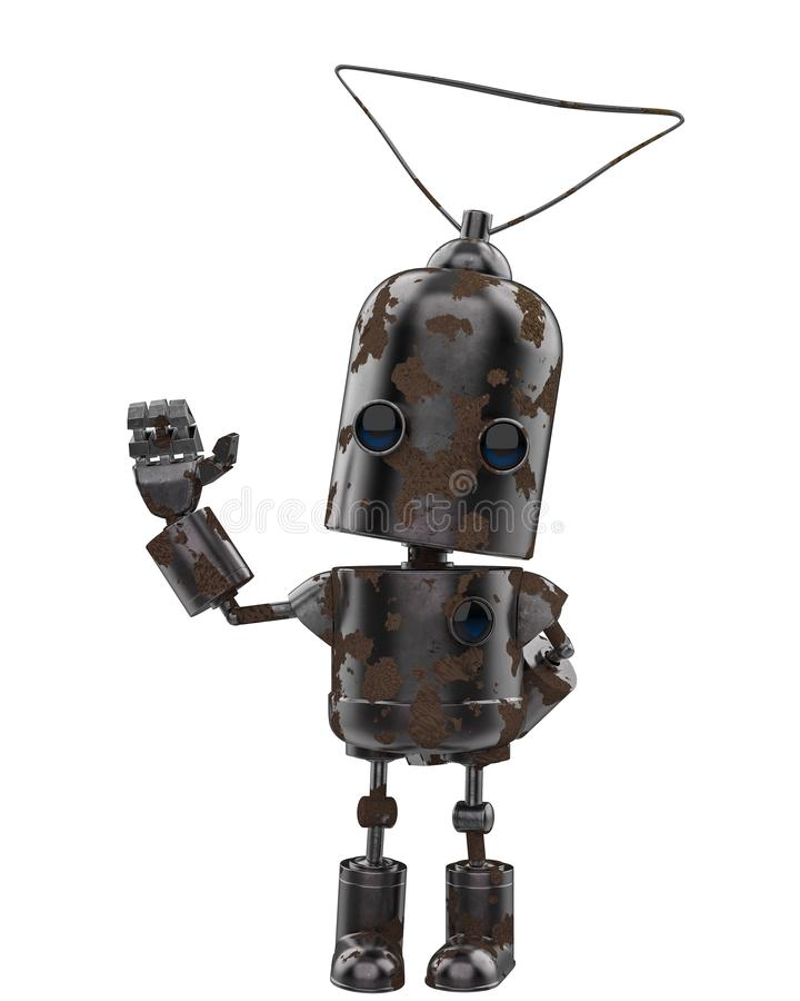 Μίνι ρομπότ σιδήρου σε ένα άσπρο υπόβαθρο απεικόνιση αποθεμάτων