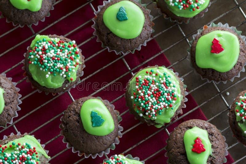 Μίνι σοκολάτα Cupcakes που διακοσμείται για τα Χριστούγεννα στοκ εικόνα