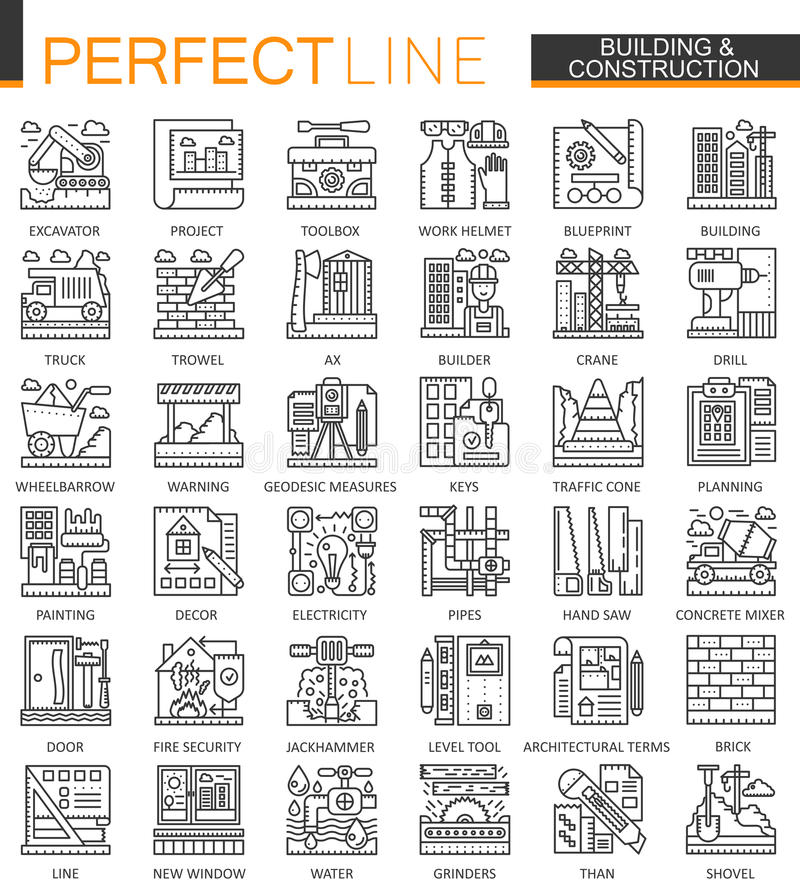 Μίνι σύμβολα έννοιας περιλήψεων κτηρίου και οικοδόμησης Εγχώριας επισκευής εργαλείων σύγχρονες απεικονίσεις ύφους κτυπήματος γραμ διανυσματική απεικόνιση