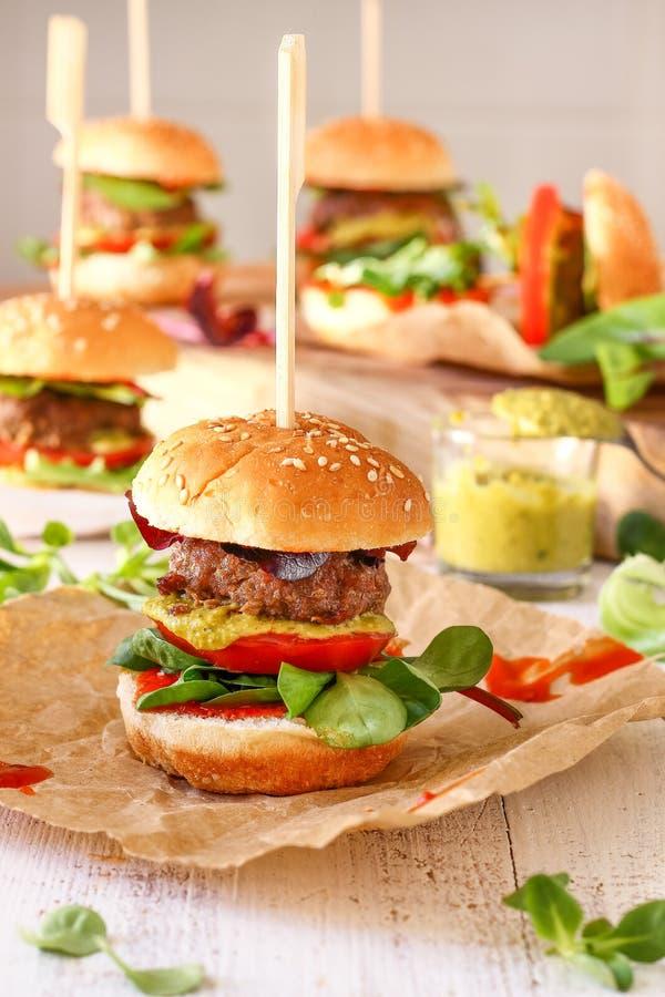Μίνι Burger Pesto ολισθαίνοντες ρυθμιστές στοκ φωτογραφίες με δικαίωμα ελεύθερης χρήσης