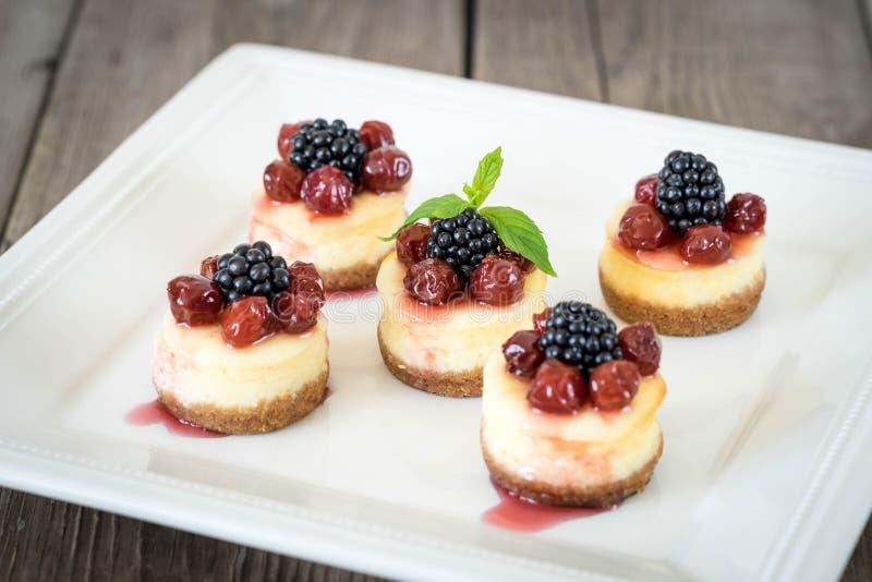 Μίνι cheesecake με το κεράσι στοκ εικόνες