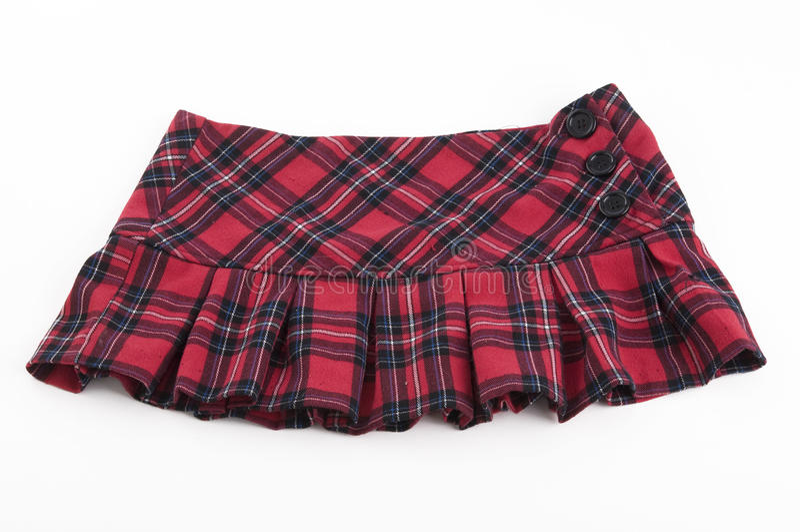 μίνι plaid κόκκινη φούστα στοκ φωτογραφία