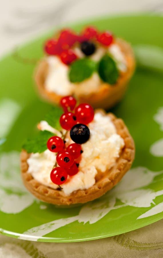 Μίνι tarts με το τυρί και την κόκκινη σταφίδα στοκ εικόνες