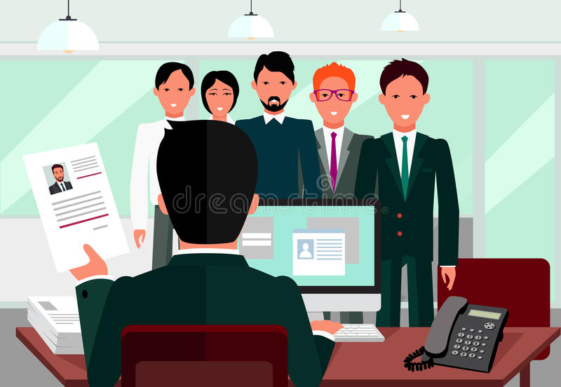 Μίσθωση στρατολογώντας τη συνέντευξη διανυσματική απεικόνιση