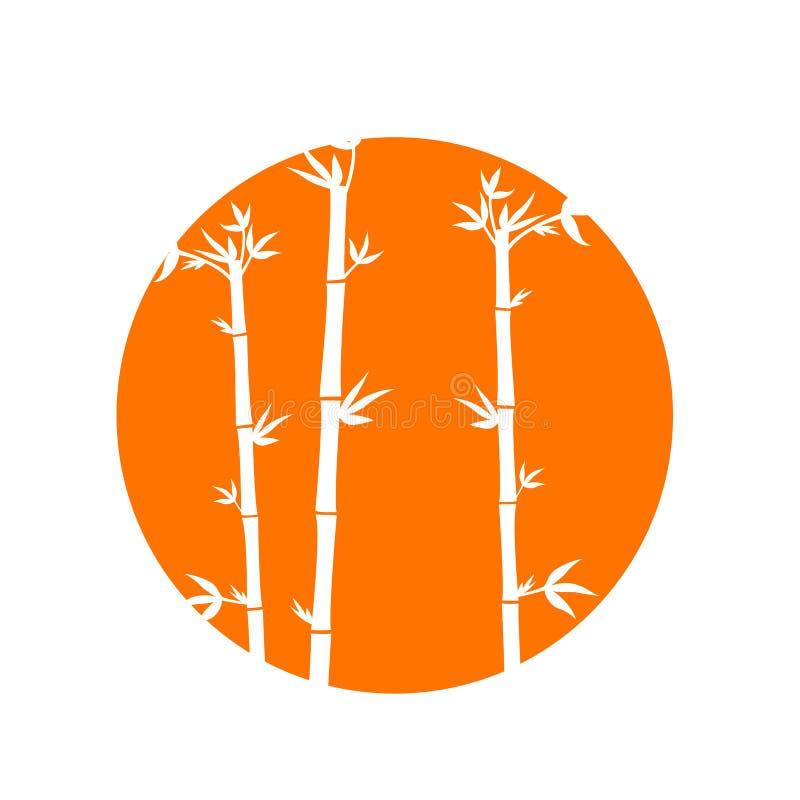 Μίσχοι μπαμπού σε έναν πορτοκαλή κύκλο απεικόνιση αποθεμάτων