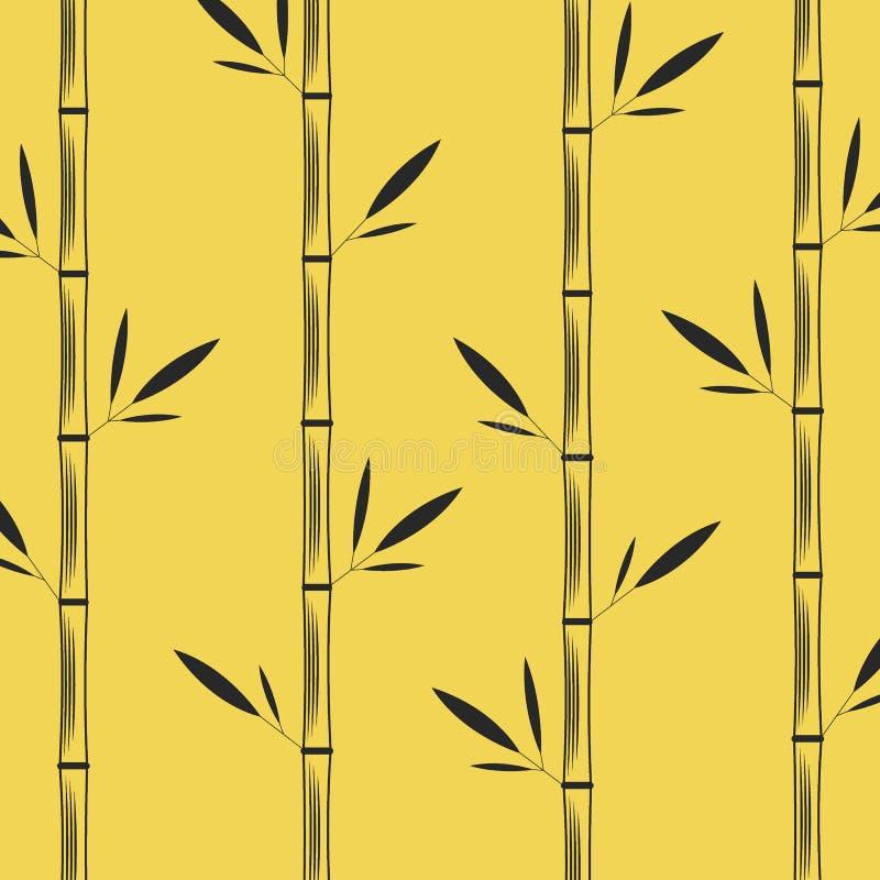 Μίσχοι του μπαμπού με μαύρη διανυσματική απεικόνιση σχεδίων φύλλων τη δημιουργική ασιατική σε ένα κίτρινο υπόβαθρο ελεύθερη απεικόνιση δικαιώματος