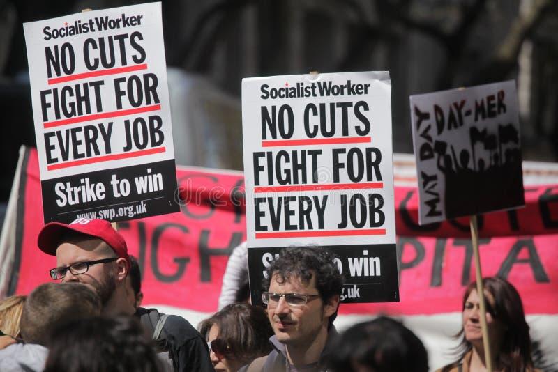 1 Μαΐου διαμαρτυρίες στο Λονδίνο στοκ φωτογραφία με δικαίωμα ελεύθερης χρήσης
