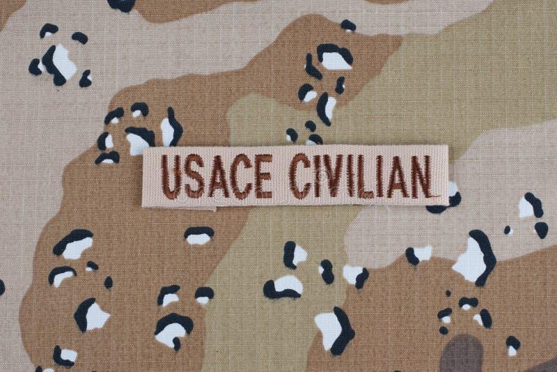 12 Μαΐου 2018 ΠΟΛΙΤΙΚΉ ταινία κλάδων USACE στο ομοιόμορφο υπόβαθρο κάλυψης ερήμων στοκ φωτογραφία με δικαίωμα ελεύθερης χρήσης
