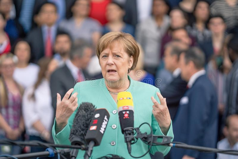 23 Μαΐου 2019 - $ροστόκ: Γερμανικός καγκελάριος Άνγκελα Μέρκελ σε μια συνέντευξη τύπου στοκ εικόνες με δικαίωμα ελεύθερης χρήσης