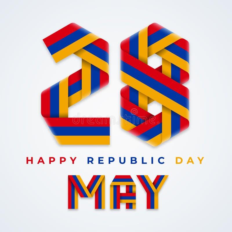 28 Μαΐου, συγχαρητήριο σχέδιο ημέρας Δημοκρατίας της Αρμενίας με τα αρμενικά χρώματα σημαιών r ελεύθερη απεικόνιση δικαιώματος