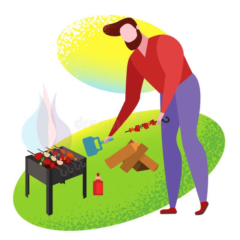 Μαγείρεμα ανθρώπων αφισών σχαρών που ψήνεται στη σχάρα διανυσματική απεικόνιση