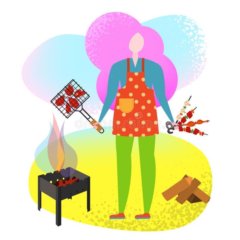 Μαγείρεμα ανθρώπων αφισών σχαρών που ψήνεται στη σχάρα ελεύθερη απεικόνιση δικαιώματος