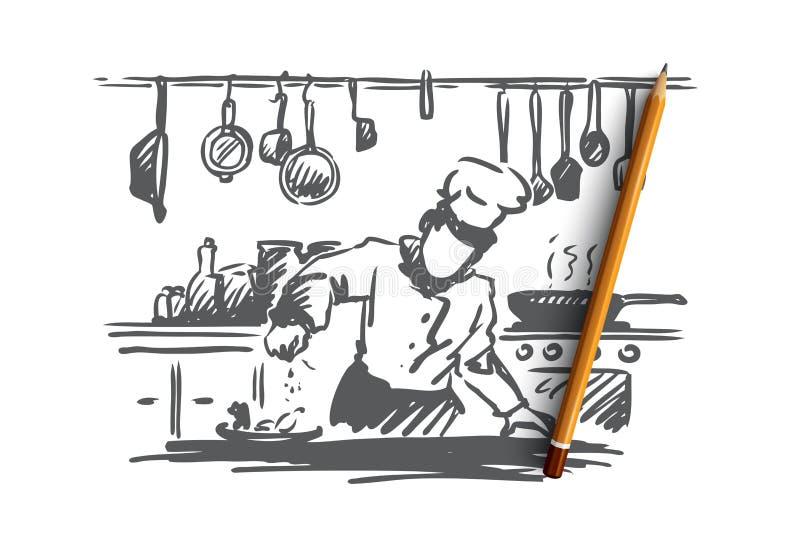 Μαγείρεμα, αρχιμάγειρας, τρόφιμα, έννοια γεύματος Συρμένο χέρι απομονωμένο διάνυσμα απεικόνιση αποθεμάτων