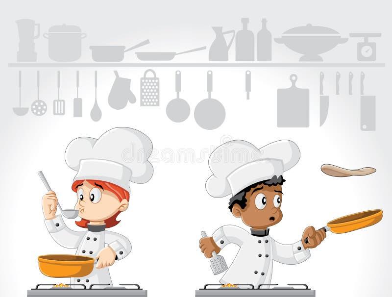Μαγείρεμα αρχιμαγείρων κινούμενων σχεδίων ελεύθερη απεικόνιση δικαιώματος