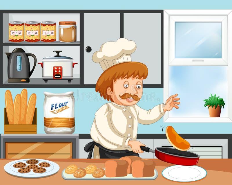 Μαγείρεμα αρχιμαγείρων σε μια κουζίνα απεικόνιση αποθεμάτων
