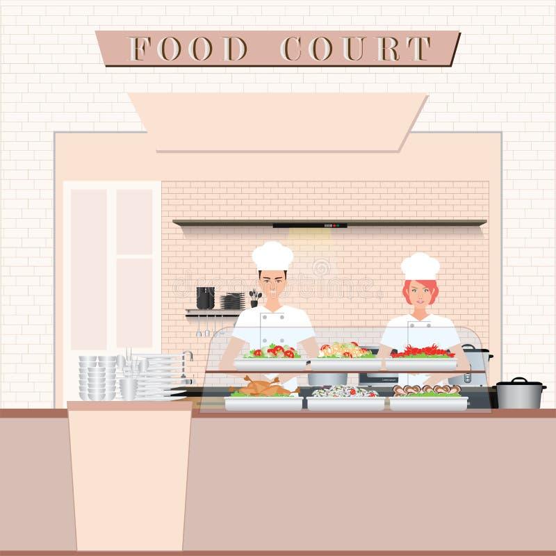 Μαγείρεμα αρχιμαγείρων στο δικαστήριο τροφίμων σε μια λεωφόρο αγορών ελεύθερη απεικόνιση δικαιώματος