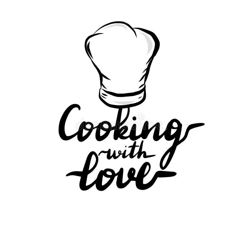 Μαγείρεμα επιγραφής εγγραφής με την αγάπη ελεύθερη απεικόνιση δικαιώματος