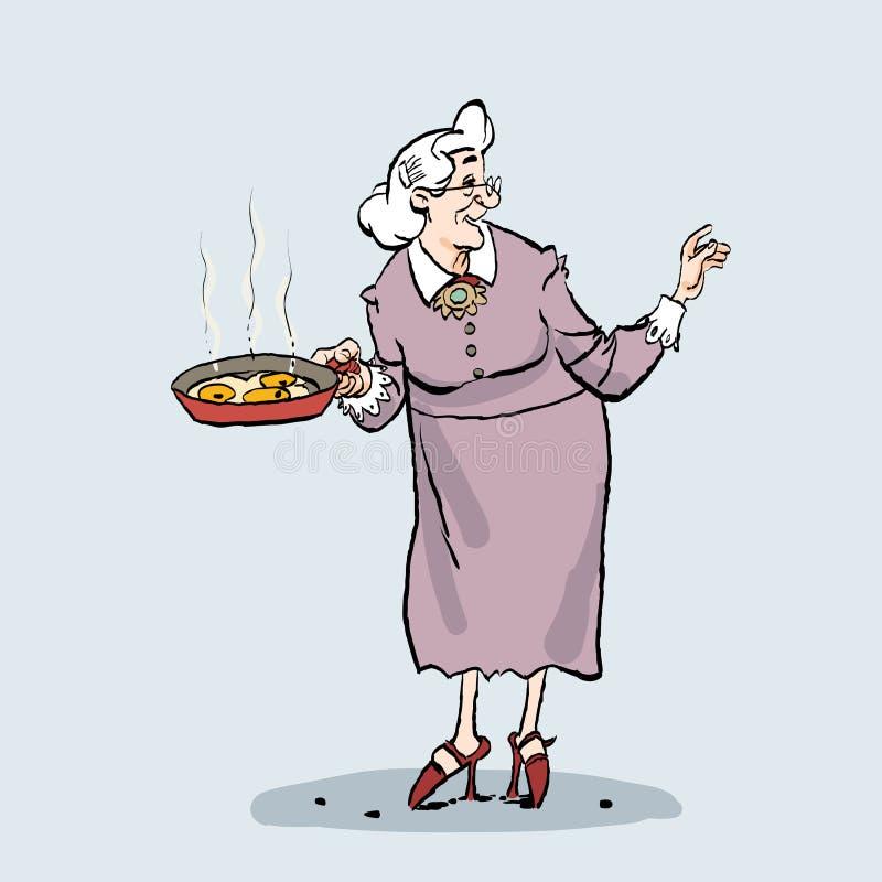 Μαγείρεμα ηλικιωμένων κυριών Κινούμενα σχέδια μιας παλαιάς γιαγιάς που κρατά ένα τηγάνι στοκ φωτογραφία με δικαίωμα ελεύθερης χρήσης