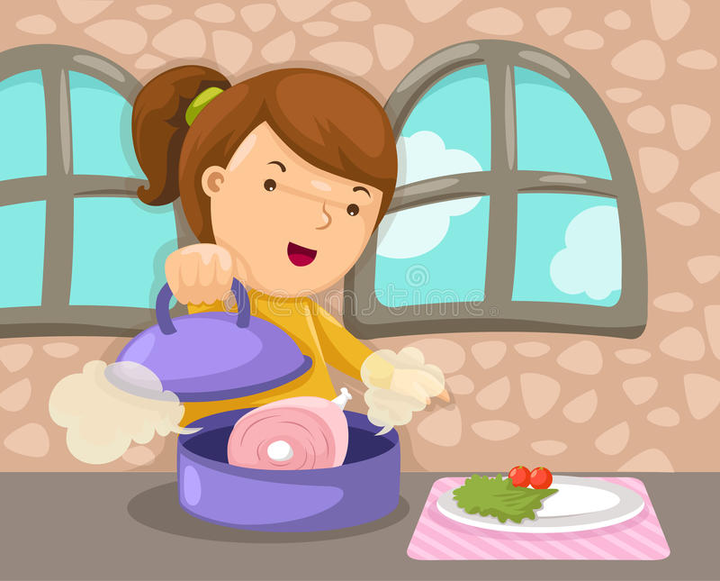 Μαγείρεμα κοριτσιών απεικόνιση αποθεμάτων