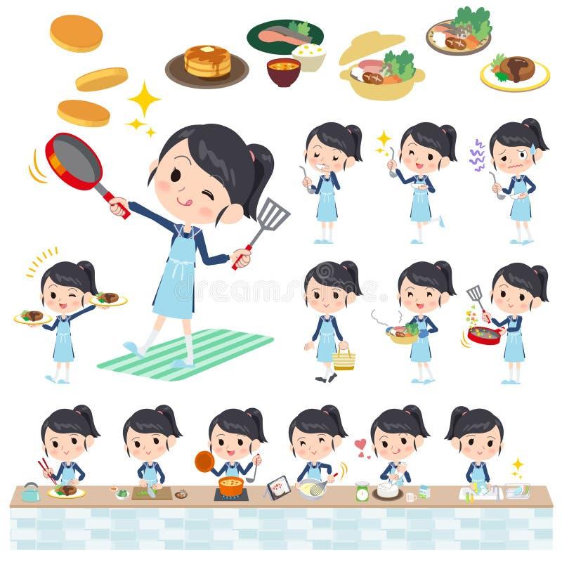 Μαγείρεμα κοστουμιών ναυτικών σχολικών κοριτσιών ελεύθερη απεικόνιση δικαιώματος