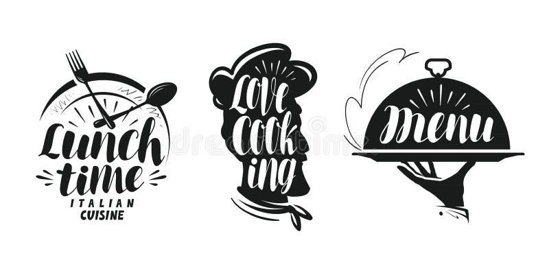 Μαγείρεμα, λογότυπο κουζίνας Καθορισμένα εικονίδια και σύμβολα για το εστιατόριο ή τον καφέ επιλογών σχεδίου απεικόνιση αποθεμάτων