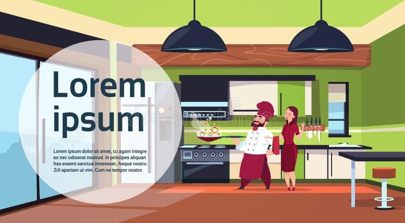 Μαγείρεμα ομάδας Cook αρχιμαγείρων στη σύγχρονη κουζίνα στο σπίτι διανυσματική απεικόνιση