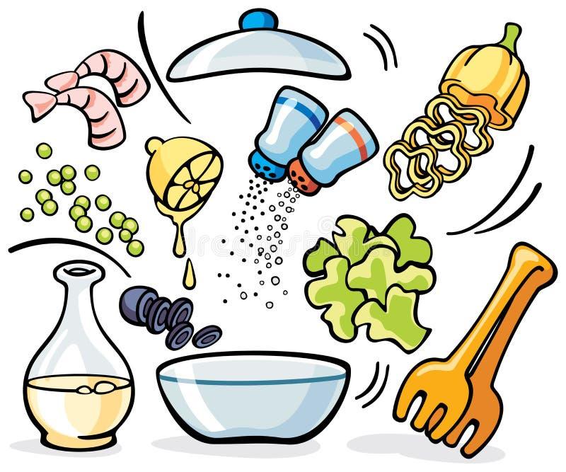Μαγείρεμα - προετοιμασία σαλάτας ελεύθερη απεικόνιση δικαιώματος