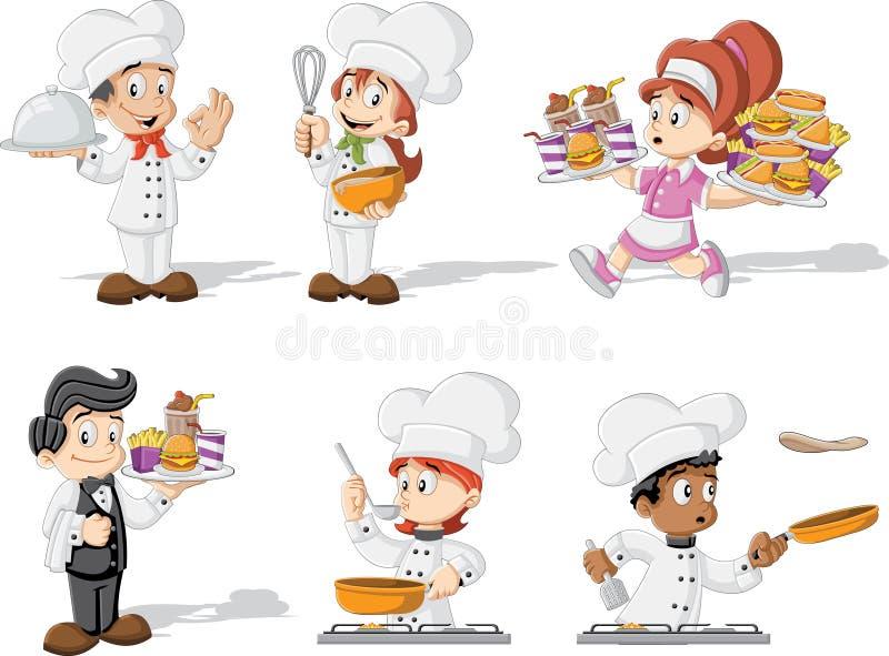Μαγείρεμα, σερβιτόρα και σερβιτόρος αρχιμαγείρων κινούμενων σχεδίων απεικόνιση αποθεμάτων