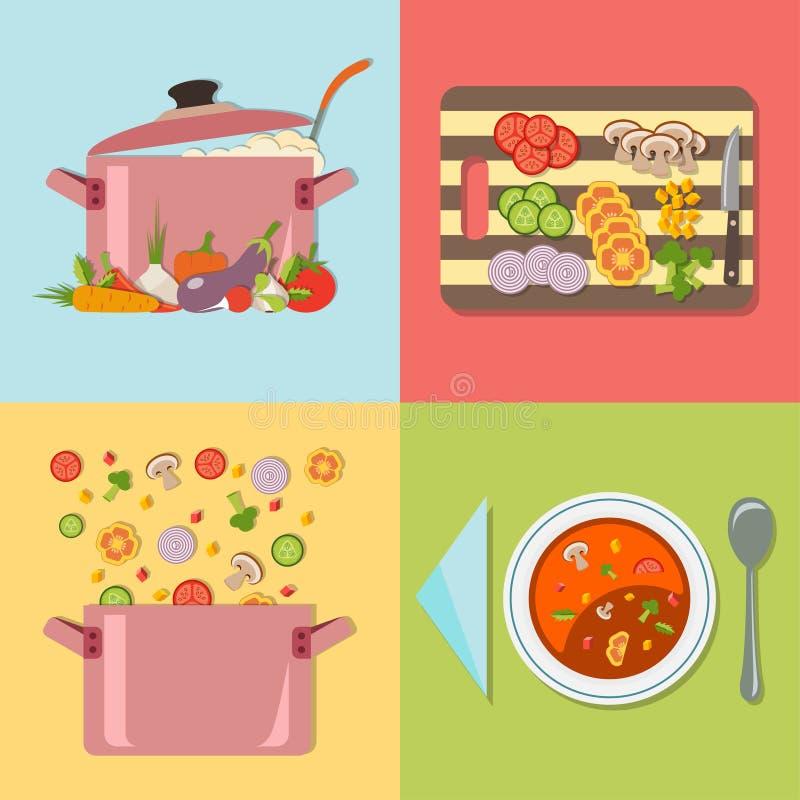 μαγείρεμα Τέσσερα στάδια της προετοιμασίας της φυτικής σούπας διανυσματική απεικόνιση