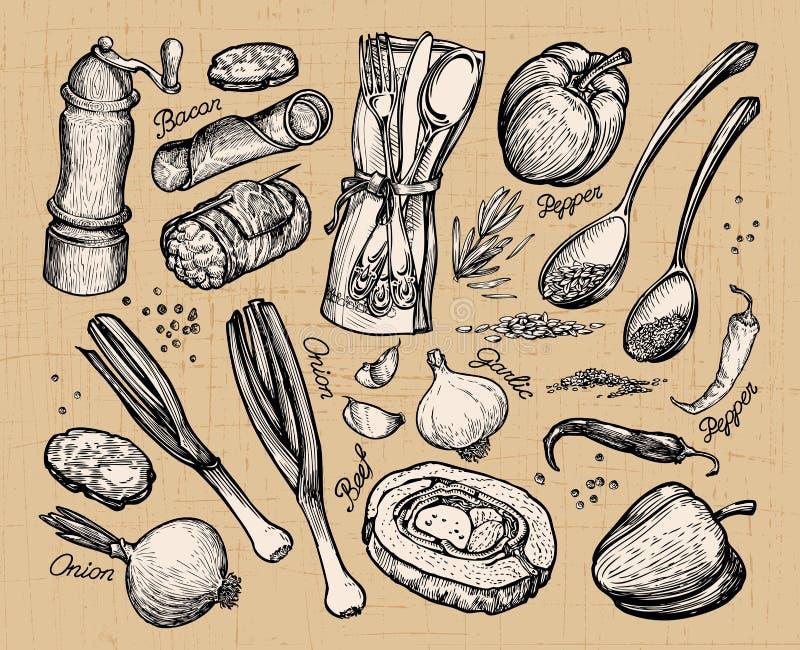 Μαγείρεμα, τρόφιμα καθορισμένα διανυσματικά στοιχεία για τον καφέ επιλογών εστιατορίων απεικόνιση αποθεμάτων
