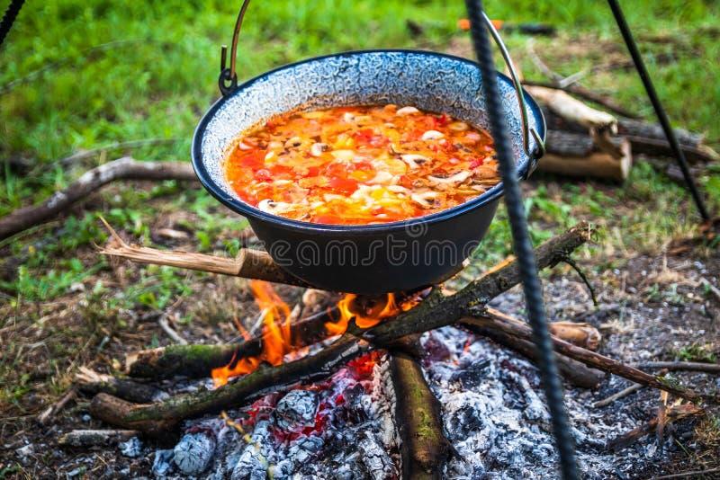 Μαγείρεμα υπαίθριο σε μια πυρκαγιά σε ένα δοχείο Προετοιμασία goulash σε μια φύση από τη λίμνη στοκ φωτογραφία με δικαίωμα ελεύθερης χρήσης
