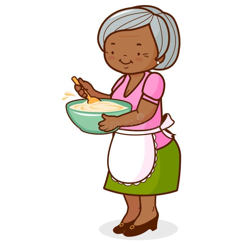 Μαγείρεμα grandma αφροαμερικάνων διανυσματική απεικόνιση
